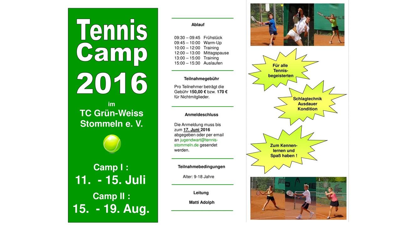 Anmeldung Training und Tenniscamp